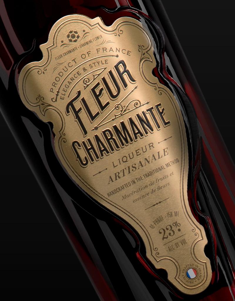 Fleur Charmante Liqueur Packaging Design & Logo Label Detail