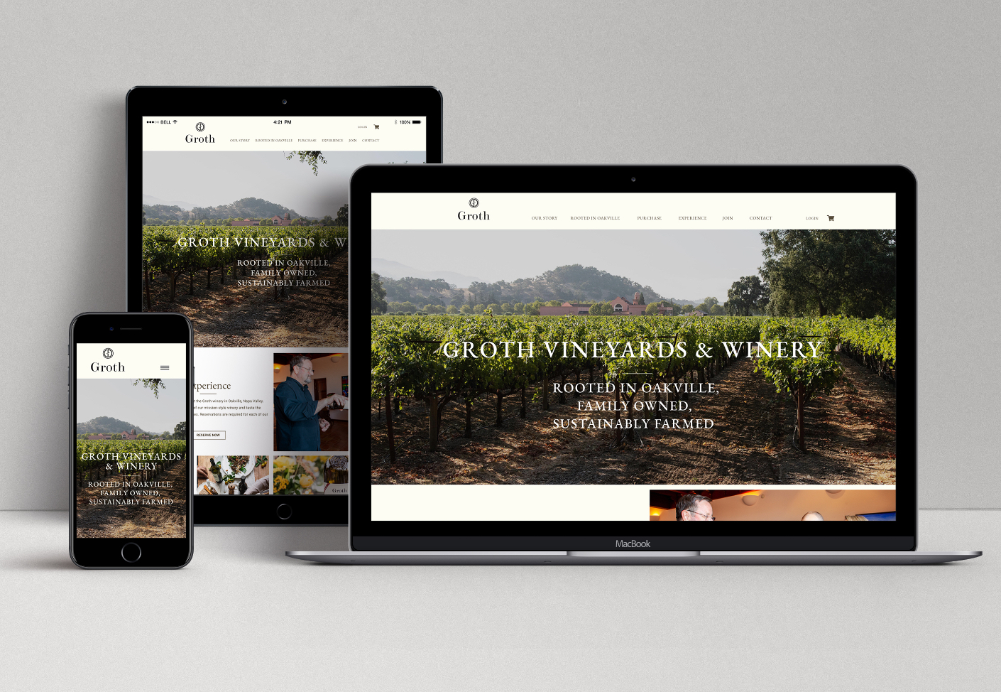 Groth Vineyards & Winery Responsive Website Design